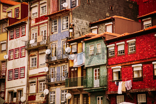 Beautiful historic colorful buildings in the old town of Ribeira in the city of Porto, Portugal