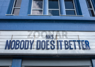 GLASGOW, UK – MAR 28 2020 - NHS Tribute On Theatre Marquee