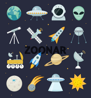 Space icon set flat style.Astronomical Cosmos collection with telescope, moon rover, saturn, rocket, astronaut, satellite, sun.Vector illustration