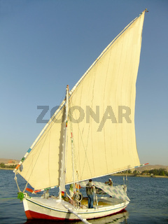 Felucca boat on the Nile river bank