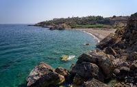 Aerial view on Geropotamos beach on Crete, Greece.