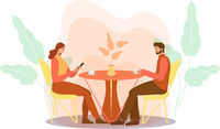 A guy and a girl are sitting at a table in a cafe drinking coffee. Woman and man in a restaurant, first date, dating, love. Flat modern illustration. Vector