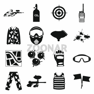 Paintball game simple icons set