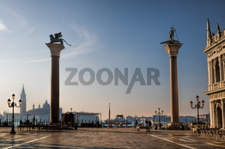 piazzetta di san marco in venice in the morning light, italy