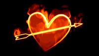 Heart with arrow on fire