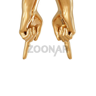 Two golden hands showing top down with index finger on a white background. 3d rendering