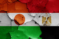 flags of Niger and Egypt painted on cracked wall