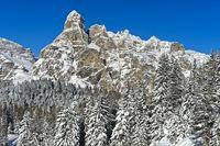 Gipfel Sassongher im Winter, Alta Badia, Dolomiten, Südtirol, Italien