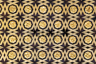 Gild wallpaper in Alcazar palace in Seville