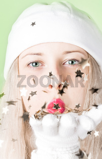 Beautiful blonde model in Christmas time, woman with positive emotion in winter season for shopping sale and holiday brand