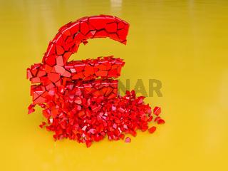 Ein roter Euro zerbricht