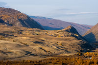 The altai mountains. landscape of nature on the Altai mountains and in the gorges between the mountains.