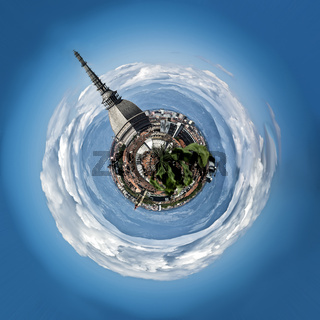 Mini planet or globe of Turin city center, in Italy