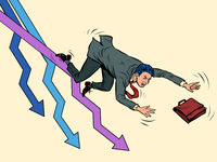 The businessman falls. Charts down. Failure problem bankruptcy
