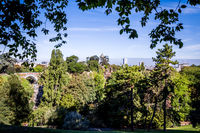 Sibyl temple and pond in Buttes-Chaumont Park, Paris