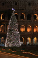 Colosseum by night in Christmas time. Rome