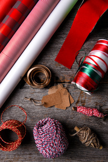 Flat lay Christmas gift wrapping paper