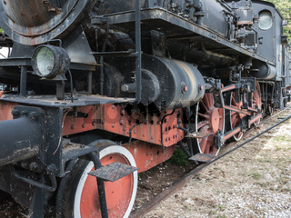 Red and black vintage train.