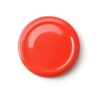 Top view of red blank jar lid