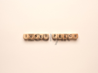 Inner peace written with small wooden blocks
