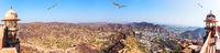 View on Jaipur and the Aravalli Range, India, panorama