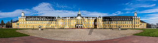 Large Panorama of Castle Karlsruhe with Garden Square. In District Karlsruhe, Baden-Württemberg, Germany