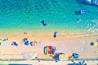 Aerial view of Idyllic beach in Orebic, Croatia