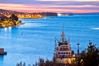 Zadar archipelago. Colorful sunset in Kali harbor bay on Ugljan island view