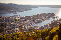 View on Bergen Norway. Tilt shift lens. Bergen is a city and municipality in Hordaland on the west coast of Norway. Bergen is the second-largest city in Norway.