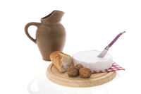 French Camembert, wine, bread and walnuts