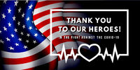Thanks for the heroes helping to fight the coronavirus. Vector illustration with USA flag on background.