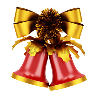 christmas bells with golden bow isolated on white background