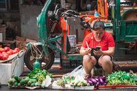 Street vegetable sellers in China