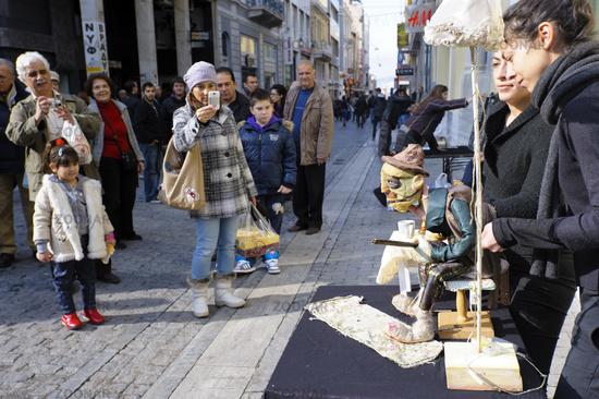 Puppenspielerinnen, Athen, Griechenland, Europa
