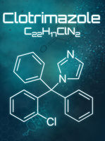 Chemical formula of Clotrimazole on a futuristic background