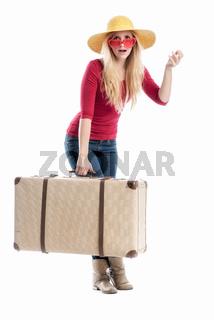 frau mit reisekoffer