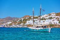 Tourist boat near Mykonos town