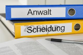 Folders with the german label Anwalt und Scheidung - Divorce and Lawyer