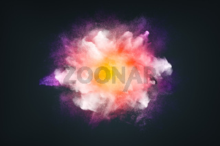 Abstract design of bright colored powder or dust particles cloud explosion and splash with smoke flying over black background