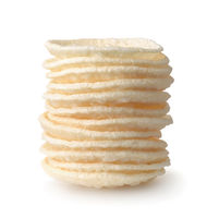 Stack of round puffed wheat flatbreads