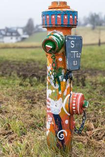 Bunter Hydrant zur Wasserversorgung - Wasserhydrant