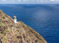 Steep trail to the lighthouse on Makapuu point on Oahu, Hawaii