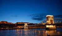 Budapest chain bridge on danube river. Famous sights at landmark Buda riverbank.