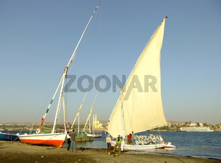 Felucca boats on the Nile river bank