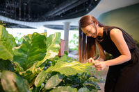 Happy young beautiful Asian businesswoman at the indoor garden