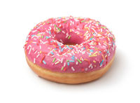Pink frosted donut with colorful sprinkles
