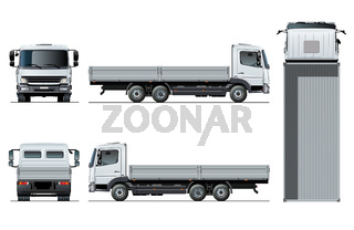 Vector flatbed truck template isolated on white