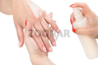 manicure applying - moisturising