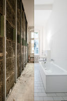 bathroom before and after renovation - home refurbishment concept -