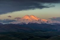 Elbrus at sunrise in Caucasus mountains